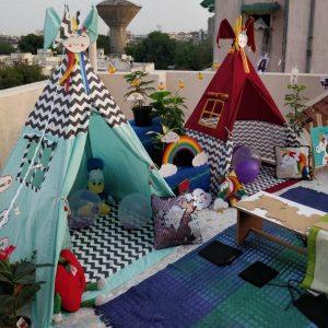 green tipi tent